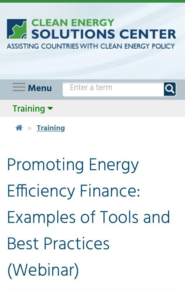 Webinar – Promoviendo el financiamiento de Eficiencia Energética: Ejemplos de herramientas y mejores prácticas