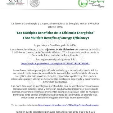 "Webinar ""The Multiple Benefits of Energy Efficiency"" de la Agencia Internacional de Energía (IEA)"