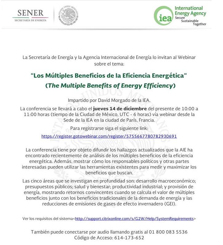 """Webinar """"The Multiple Benefits of Energy Efficiency"""" de la Agencia Internacional de Energía (IEA)"""