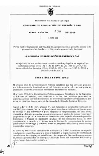 Comisión de Regulación de Energía y Gas – Resolución No 030 26 – Febrero – 2018